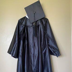Collegiate Graduation Cap and Gown in Black